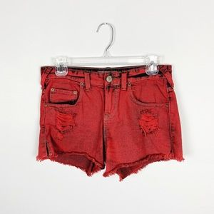 Free People Red Acid Wash Distressed Jean Shorts